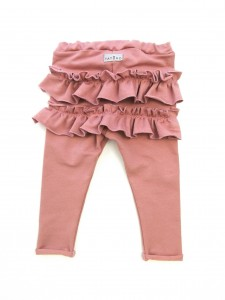 Legginsy z falbankami na pupie - old rose
